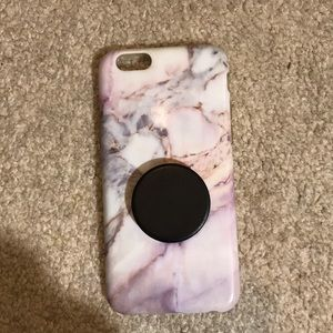 Marble Phone Case with black pop socket
